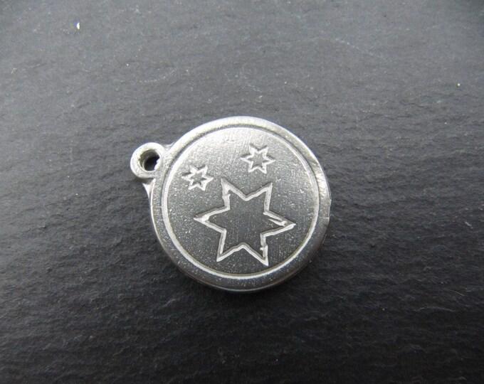 Iron medal white 17mm - stars