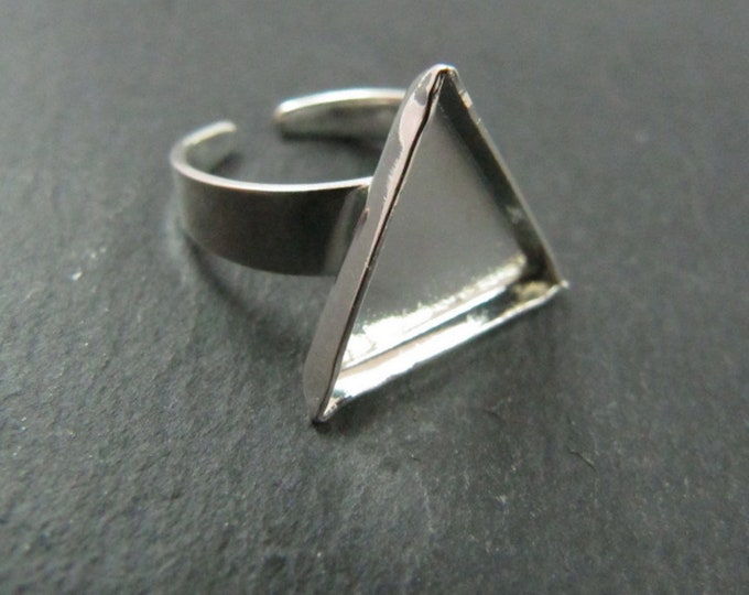 Support ring child 10x10mm 925 Silver finish brass triangle