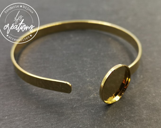 Made in France - 5x1mm ribbon bracelet with bowl - Laiton/golden-finished tin - Made in France