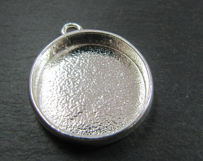 Round pendant holder - silver finish 925