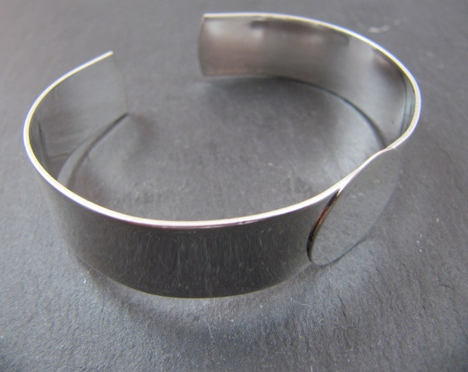 Made in France - 13mm ribbon bracelet - '18mm tray' - Laiton silver finish 925