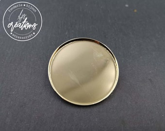 Round brooch - 45x2.5mm brass gold finish