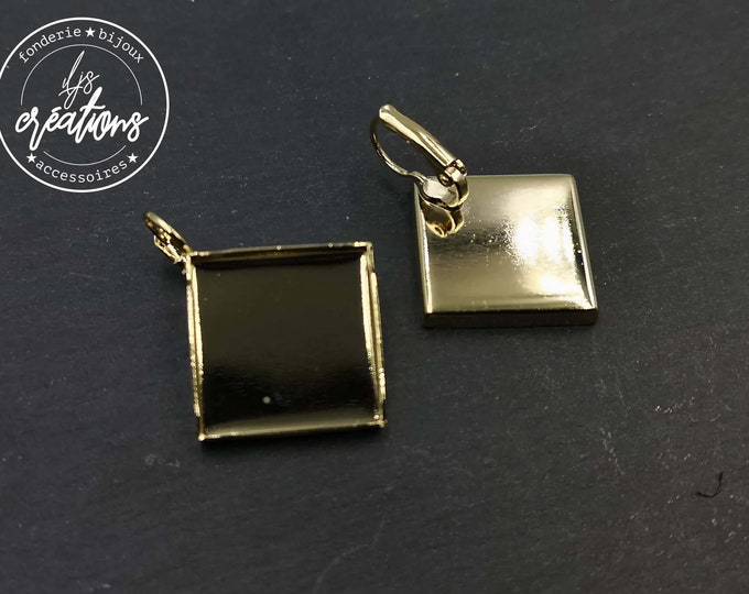 Earrings with 20x20x3mm sleepers - gold finish brass