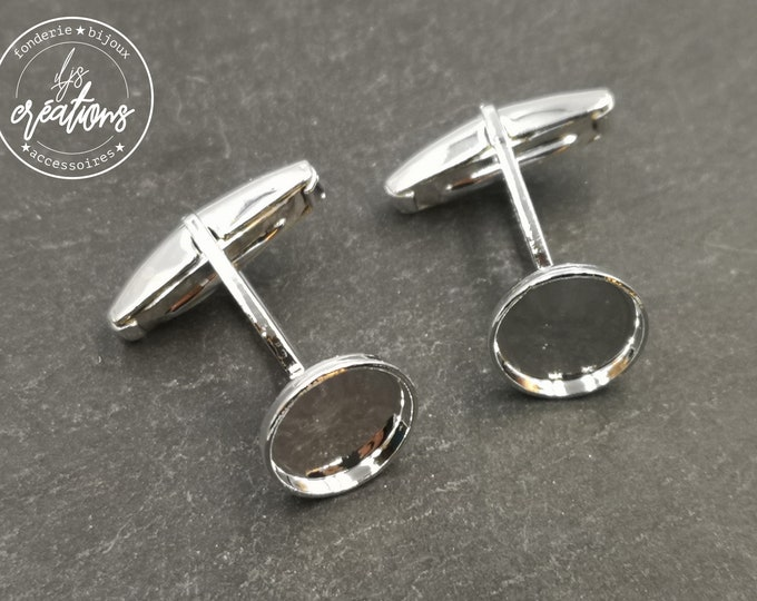 Cufflinks with round bowl of 12mm - silver