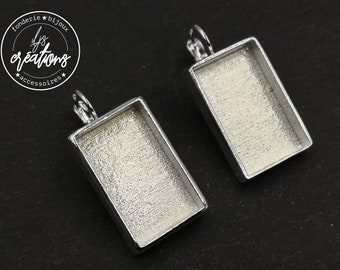 Rectangle earrings with 13x22x4mm white iron 925 - Made in france