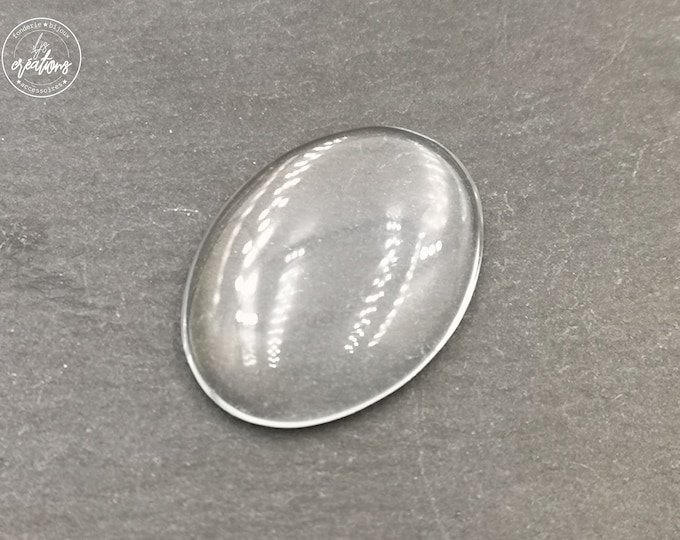End of stock - 2 glass cabochons for jewelry making 18x25mm