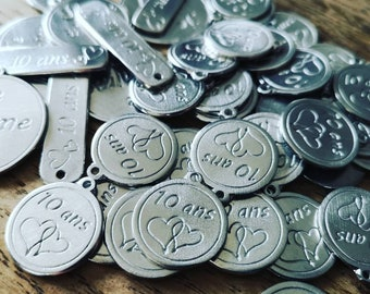 250 custom ø18mm white iron medals-white iron wedding, wedding, birthday, bapteme....