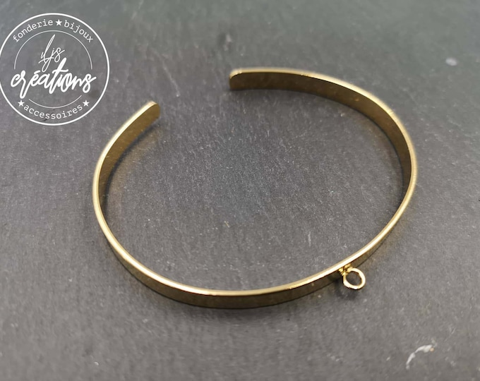5x1mm ribbon bracelet with 1 ring - Golden brass with fine gold