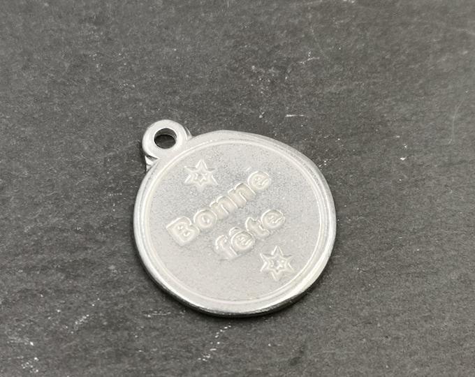 Iron medal white 17mm - happy birthday
