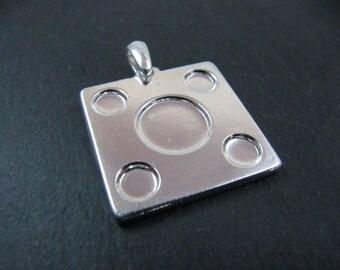 26x26 square multi-bowl pendant with 4 bowls - 5mm silver finish tin 925