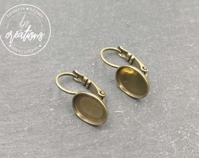 Earrings with sleepers - oval - 8x10x1.5mm - brass brass finish