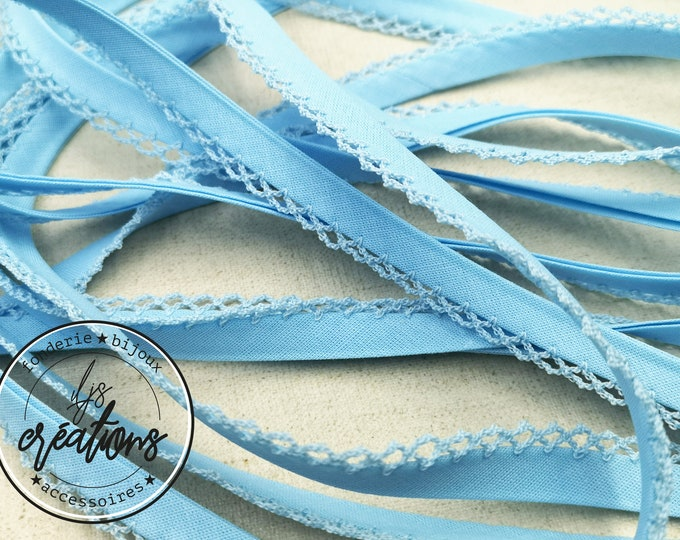1m of folded frilly bias 8mm - sky blue - end of coil