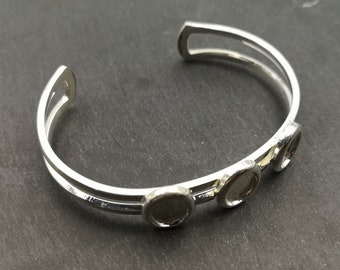 End of stock - Support bracelet, with 3 oval bowls 8x10mm - Metal Silver