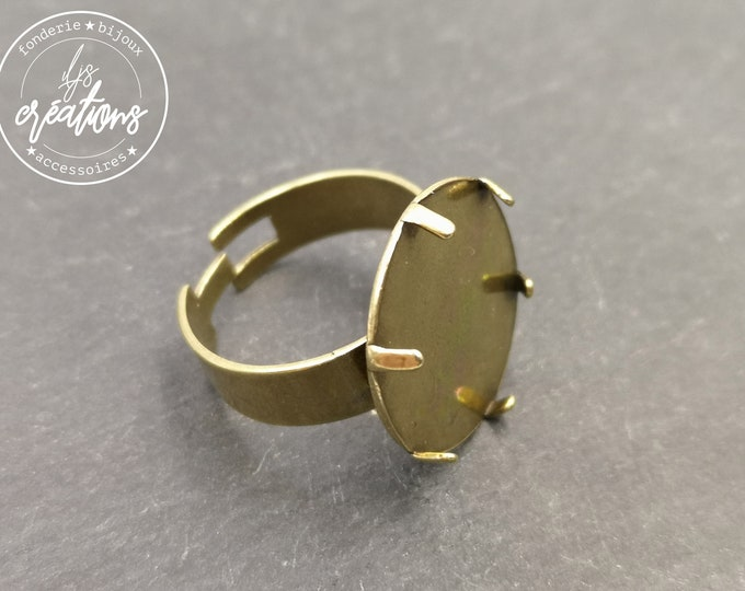 End of stock - Round ring for cabochon - 17mm brass finish