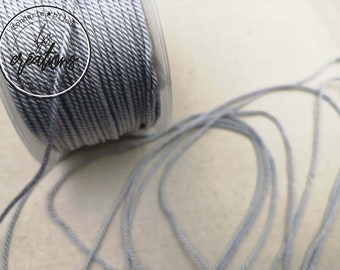 "4m braided cord 2 strands rope type ""Grey SOURIS"" -1.5mm"