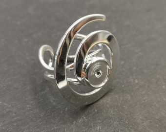 End of stock - Spiral ring support - bowl - Silver metal