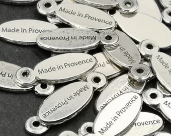 "Tags / label ""Made in Provence"" 5x15mm - finish Tin oval antique silver"