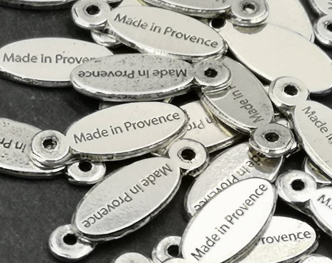 """Tags / label """"Made in Provence"""" 5x15mm - finish Tin oval antique silver"""