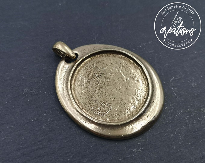 New - 37x42mm oval pendant with bowl of '30x2mm ' - laITON finish tin