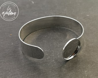 Made in France - Ribbon bracelet 13mm and bowl of ø20x1.5mm - Brass silver finish 925