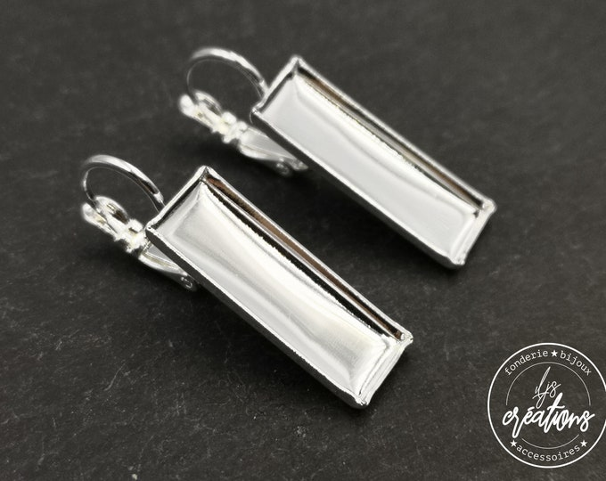 Rectangle earrings 8x22X1.8mm - Silver finish laiton 925 - with sleepers