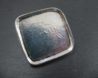Square pendant 30x30X2mm with rings on the back - iron finish 925 sterling silver