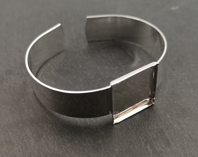 Made in France - 13mm and square Bowl 19x19x2mm Ribbon Bracelet - 925 Silver finish brass