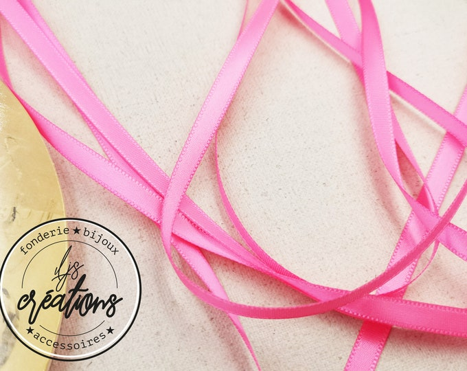 About 5m - 6mm satin ribbon - Neon Rose