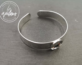 Made in France - 12x1mm ribbon bracelet with bowl - Laiton/white finish silver 925 - Made in France