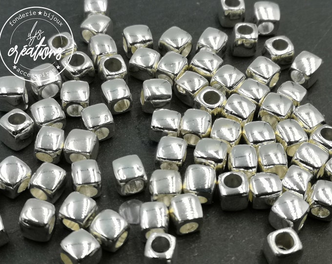 Pearl 6x6mm with hole of 3mm - tin finish brass - made in France