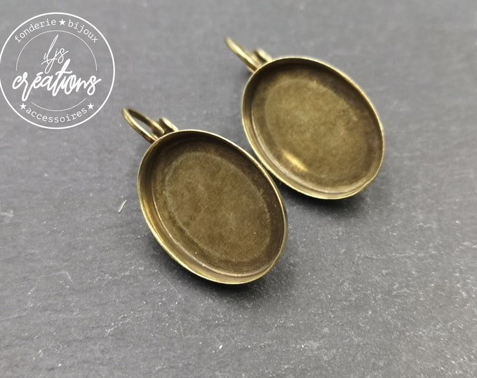 New - Earrings with 13x18x2.5mm oval sleepers - brass brass finish
