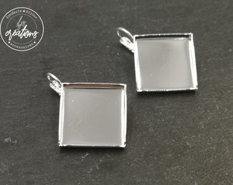 Earrings with 20x20x3mm sleepers - 925 silver finish brass