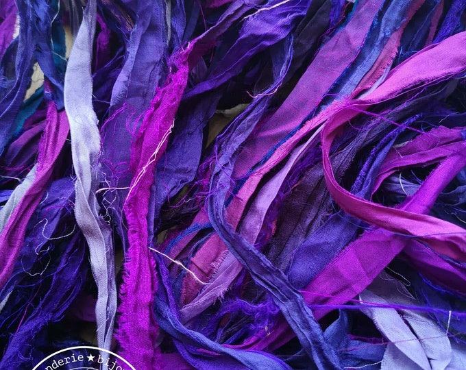 2m recycled silk from Sari - Violet / pink / blue