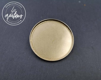 Round brooch - 35x2.5mm brass finish silver 925