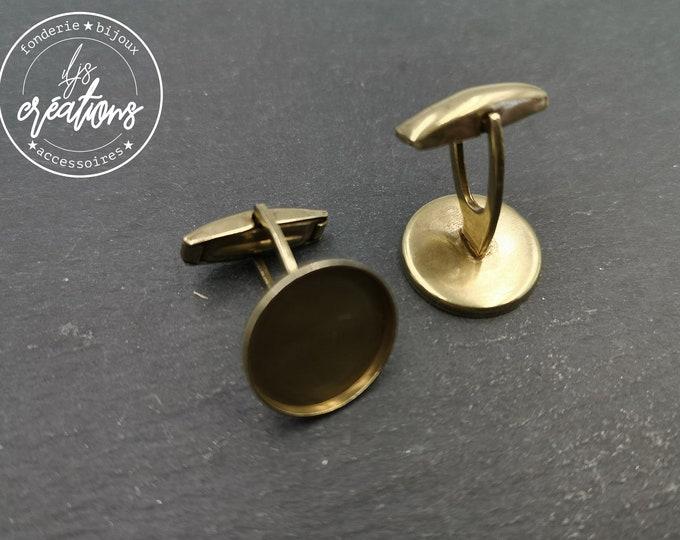 New - Round cufflinks - brass finish - Brass