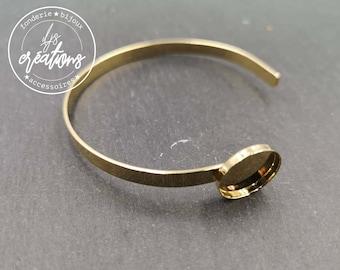 5x1mm ribbon bracelet with bowl - brass/white iron gold finish