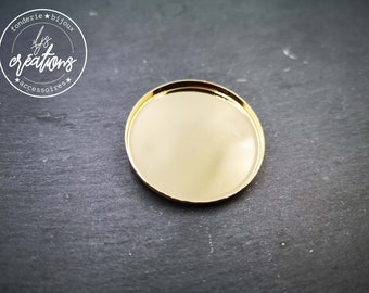 Round brooch - 35x2.5mm brass finish gold 24 carats 1 micron
