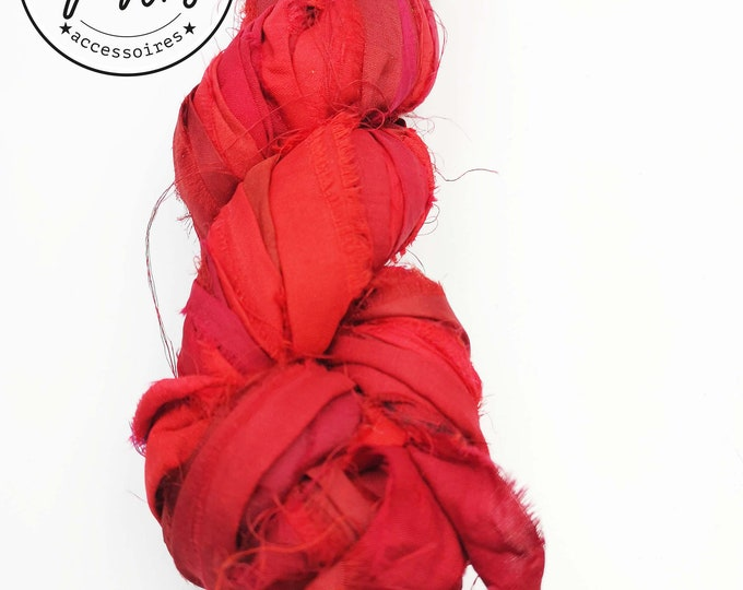 2m silk ribbon - red