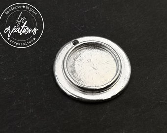 Round pendant support '27mm' with bowl of '16x1.5mm' - tin silver finish 925 - Made in France