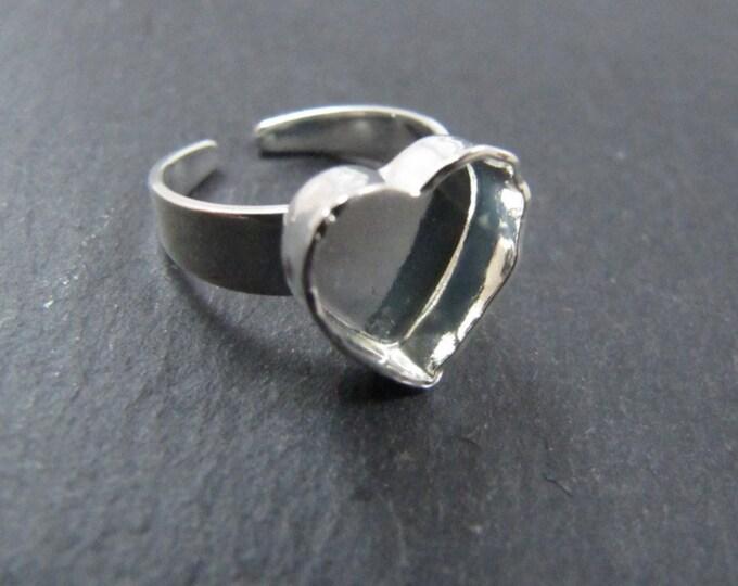 Heart 10x10x3mm heart ring in brass finish silver 925
