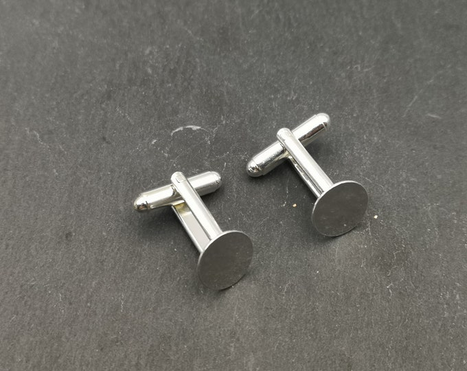 Cuff links set with round ø11mm - brass finish 925 sterling silver