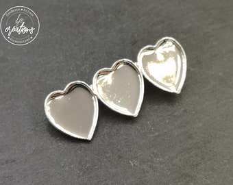 "Brooch ""Multi hearts"" 3 16x18x1mm hearts - 925 Silver finish brass"