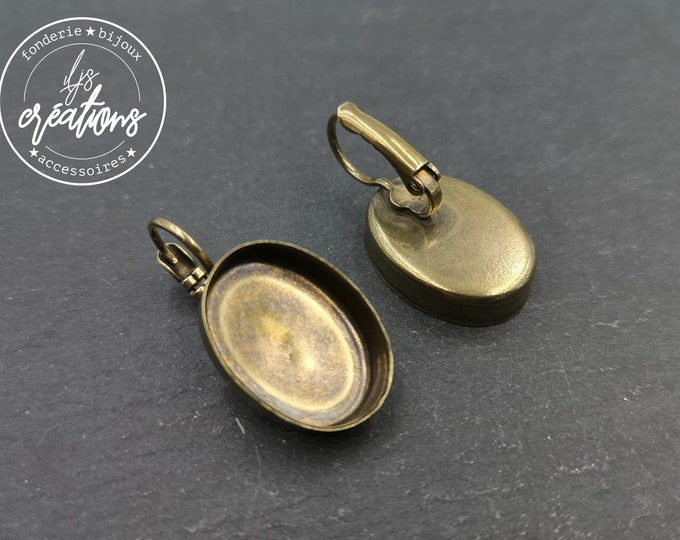 New - Earrings with 13x18x5mm oval sleepers - brass brass finish