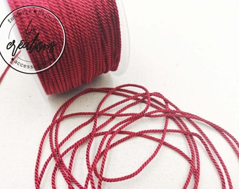 """2m braided cord 2 strands rope type """"Bordeaux"""" - 1.5mm"""