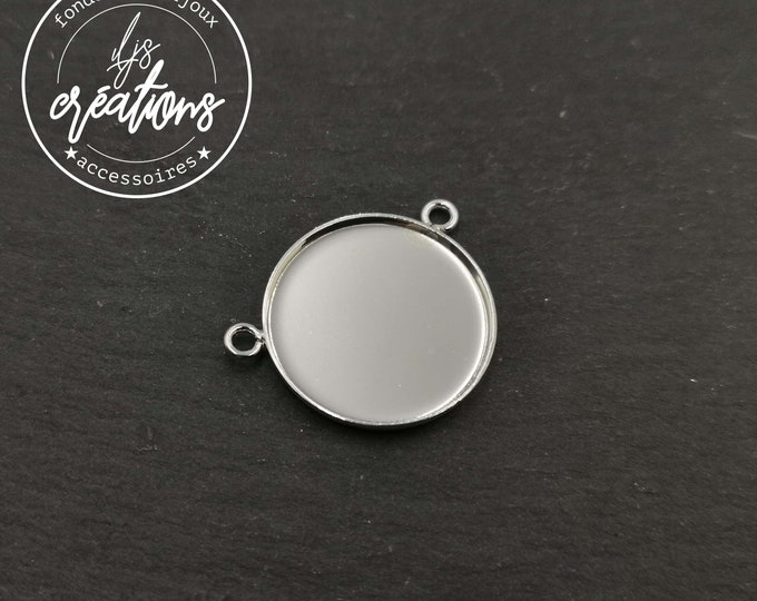 New - Pendant - 20x1.50mm - 2 rings - brass finish silver 925