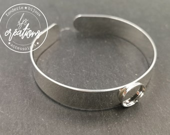 Made in France - 10x1mm ribbon bracelet with bowl - Laiton/white finish silver 925 - Made in France