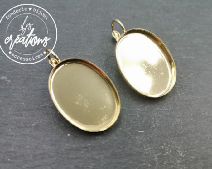 New - Earrings with 18x25x3mm sleepers - gold finish brass