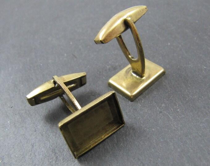 9x14X2mm rectangle cufflinks - Brass brass finish