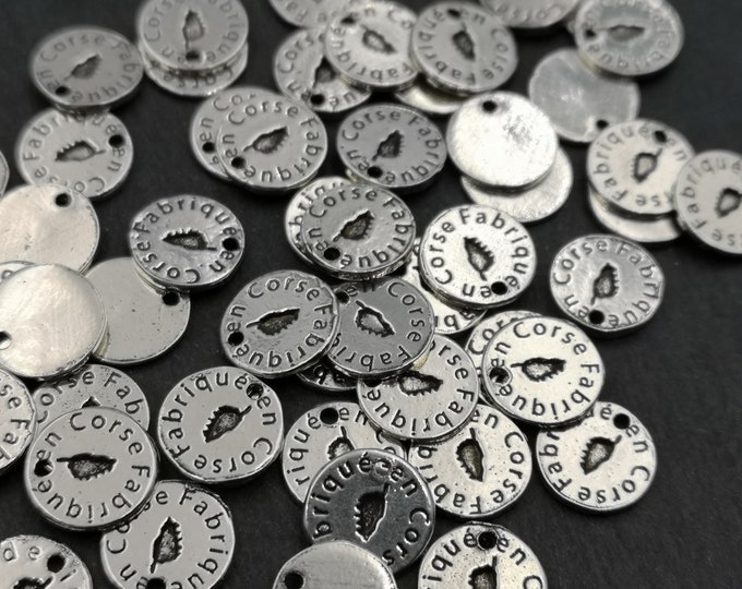 """Tags / label """"Made in Corsican"""" round '1Omm - iron finish antique silver"""