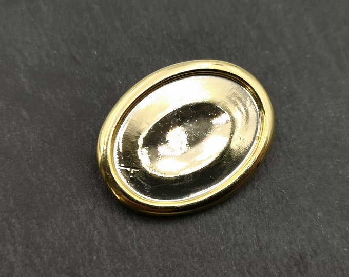 End of stock - Gold Oval brooch finding with 18x22mm - Metal Bowl